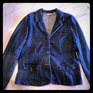 IZOD Blue Jean Jacket 3 Button Blazer
